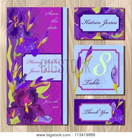 Wedding card design with purple iris flowers. Printable vector illustration