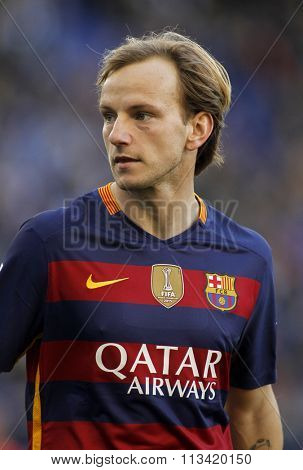 BARCELONA - JAN, 2: Ivan Rakitic of FC Barcelona during a Spanish League match against RCD Espanyol at the Power8 stadium on January 2, 2016 in Barcelona, Spain