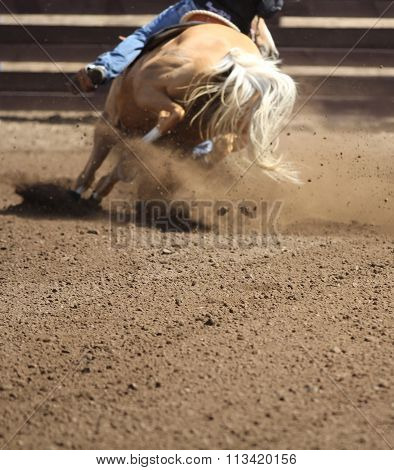 A palomino horse is racing.