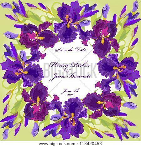Wedding card with purple iris flower wreath background. Vector illustration