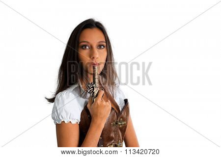 Head and Shoulders of Young Brunette Woman Blowing End of Hot Antique Pistol and Looking at Camera in Studio with White Background and Copy Space