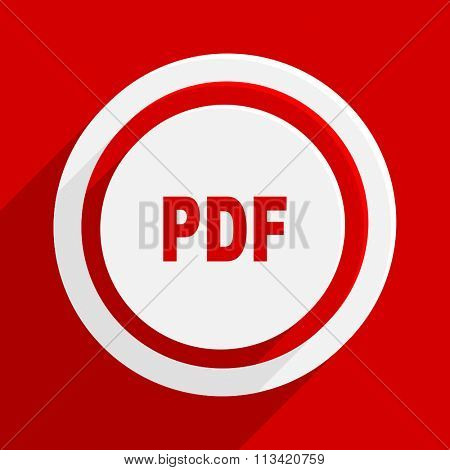 pdf red flat design modern vector icon for web and mobile app