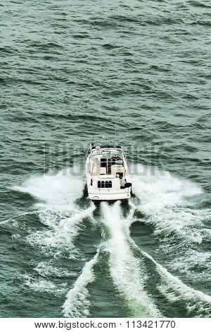 Small Motorboat Navigate In Saint Laurent River