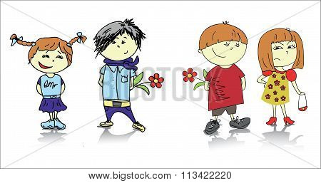 Two couples cartoon