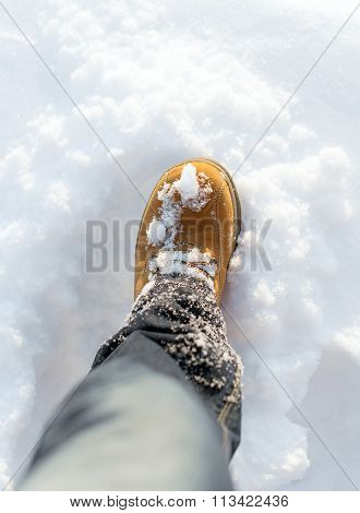 Men's Boot In The Snow In Winter.