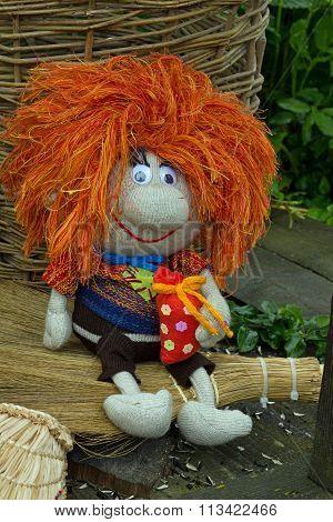rag doll with red hair -brownie Kuzya