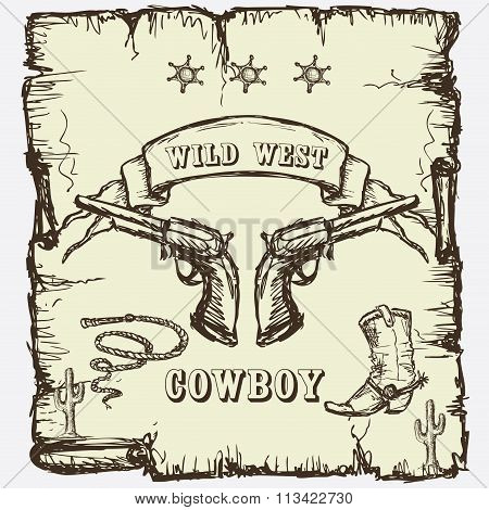sheriffs star, cowboy boots and revolvers