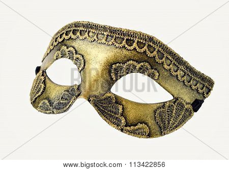 Gold Venetian Carnival half mask isolated on white background