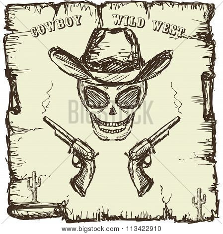 Vintage style poster with  skull, revolvers and text