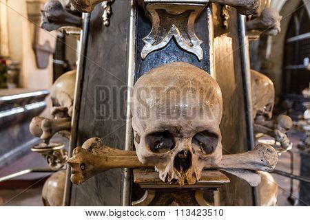 Skull And Bones In Bone Chapel-sedlec, Kutna Hora
