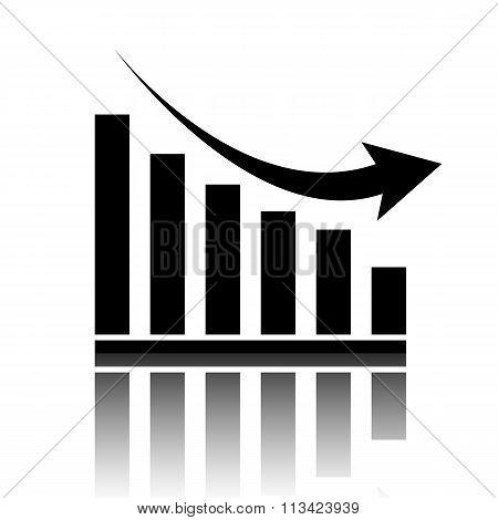 Vector declining graph icon