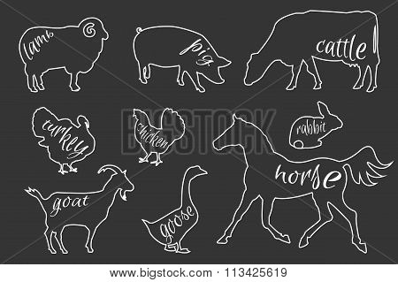 Set of farm animals silhouettes.