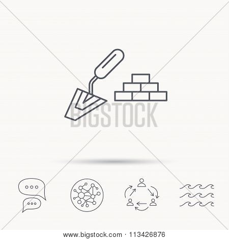Finishing icon. Spatula with bricks sign.