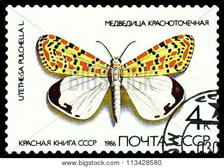 Vintage  Postage Stamp. Butterfly  Utetheisa Pulchella.