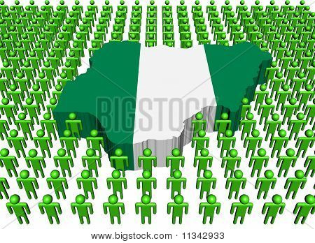 Nigeria Map Flag with Many People