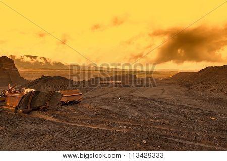 Abandoned mine - damaged landscape after ore mining