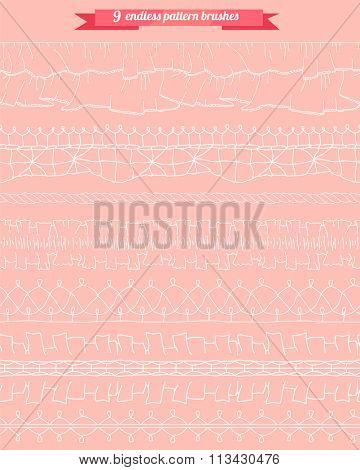 Set with seamless pattern brushes. Lacy, romantic.  Endless horizontal borders for your design, announcements, greeting cards, posters.