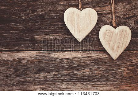 Two Wooden Hearts On Wooden Background. Copy Space, Soft Focus, Toned, Vintage Style