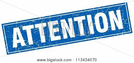 Attention Blue Square Grunge Stamp On White