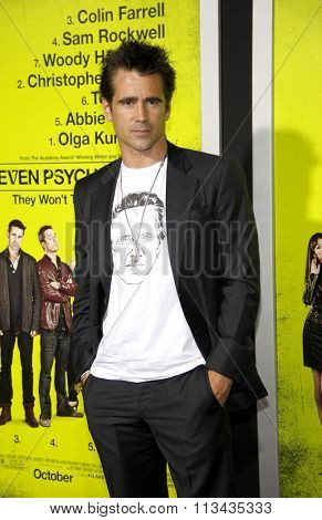 LOS ANGELES, CALIFORNIA - October 1, 2012. Colin Farrell at the Los Angeles premiere of 'Seven Psychopaths' held at the Mann Bruin Theatre, Los Angeles.