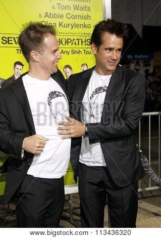 Colin Farrell and Sam Rockwell at the Los Angeles premiere of