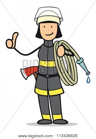 Happy female cartoon firefighter holding up thumb