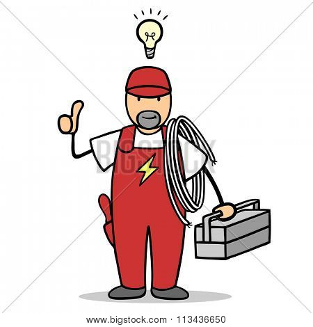 Cartoon electrician with idea lightbulb over his head holding thumbs up