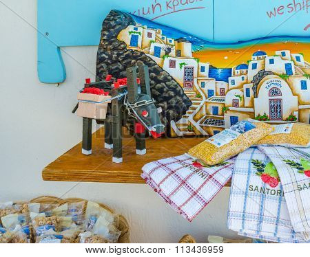 raditional souvenirs of Oia town, Santorini island