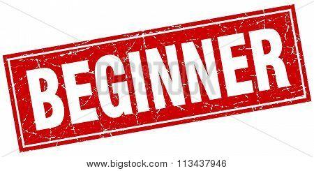 Beginner Red Square Grunge Stamp On White