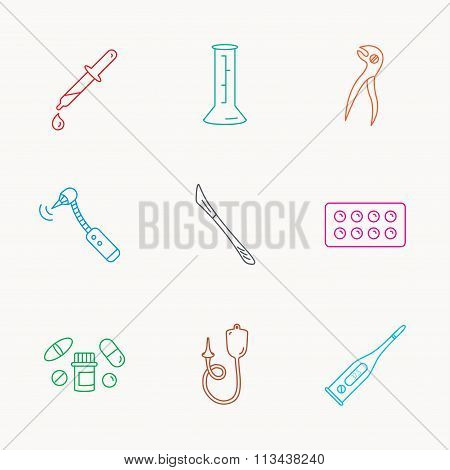 Thermometer, pills and dental pliers icons.
