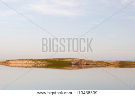 Tranquil landscape of an island in the swamp
