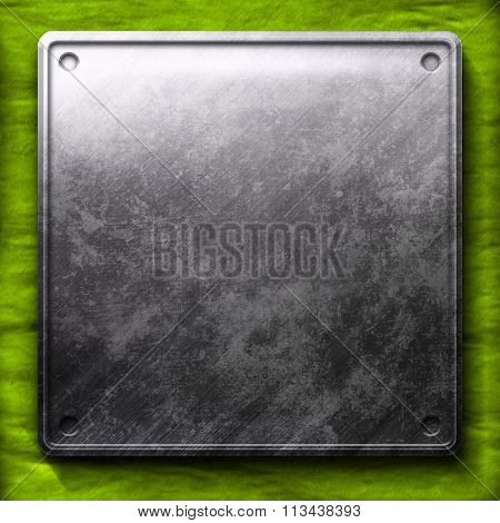 metal plate on green background