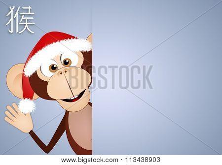 Monkey With Santa's Hat