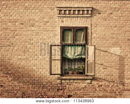 Old Vintage Window On An Old House