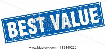 Best Value Blue Square Grunge Stamp On White