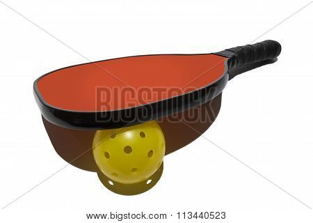 Pickleball Paddle Resting on Ball With Shadow On White Background