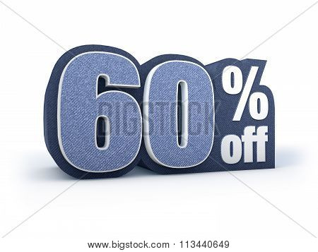 60 Percent Off Denim Styled Discount Price Sign