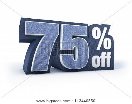 75 Percent Off Denim Styled Discount Price Sign