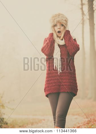 Pretty Amazed Fashion Woman In Fur Winter Hat.