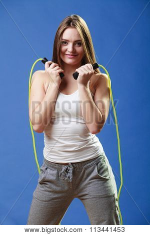 Fit Woman With Jumping Rope