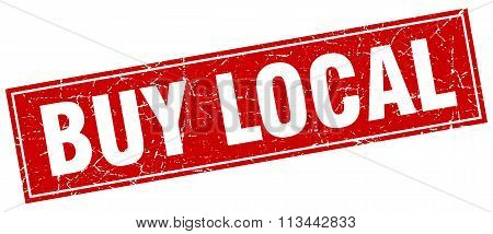 Buy Local Red Square Grunge Stamp On White