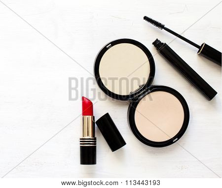Makeup Products On Wooden Background Witj Copy Space