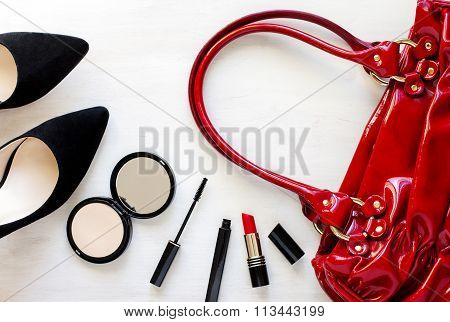 Women's Set Of Fashion Accessories On Wooden Background: Shoes, Handbag And Cosmetics