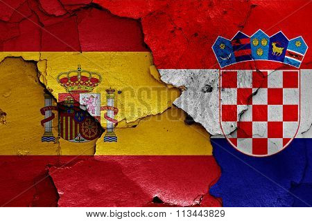 Flags Of Spain And Croatia Painted On Cracked Wall