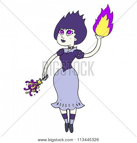 freehand drawn cartoon vampire girl casting fireball