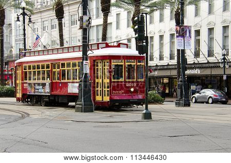 Streetcar in the downtown of New Orleans.