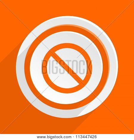 access denied orange flat design modern icon for web and mobile app