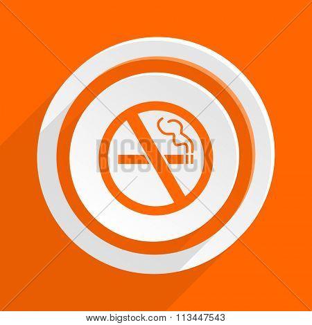 no smoking orange flat design modern icon for web and mobile app