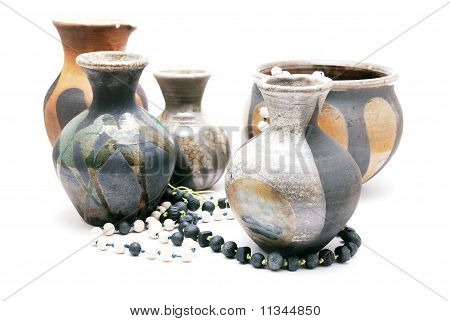 ceramic pots and beads