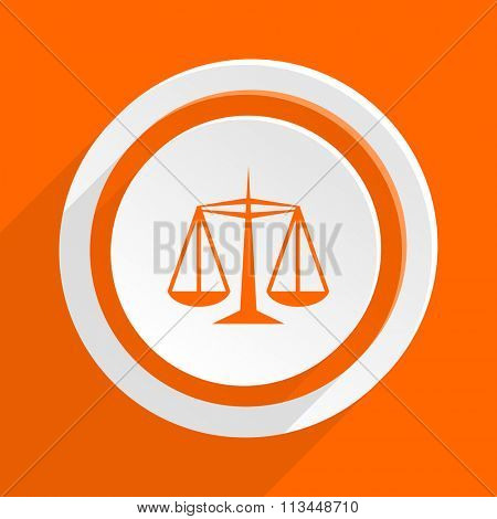 justice orange flat design modern icon for web and mobile app